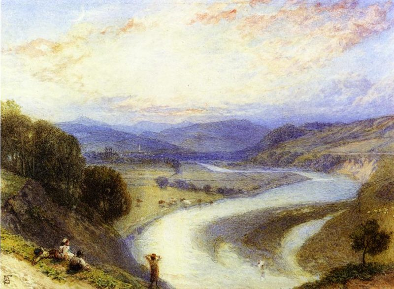 Melrose Abbey from the Banks of the Tweed   Myles Birket Foster   oil painting