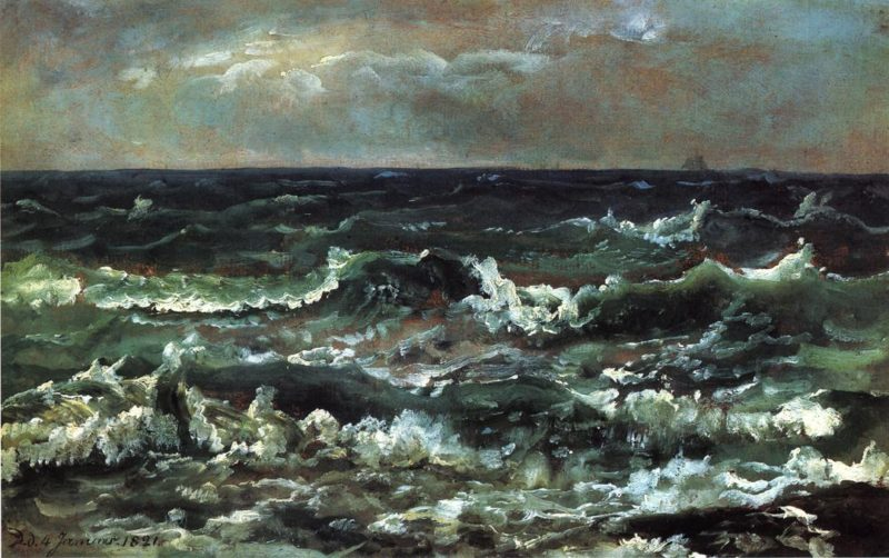 Waves and Breakers in the Bay of Naples | Johan Christian Dahl | oil painting
