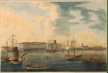 View of the Embankment of Vasilyevsky Island and the Academy of Sciences from the Neva | Malton Thomas I | oil painting
