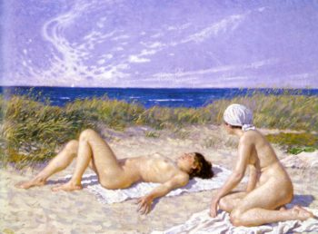 Sunbathing in the Dunes | Paul Gustave Fischer | oil painting