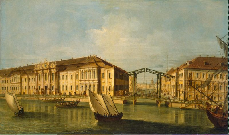 View of the Winter Palace of Peter I   Vinogradov Yefim Grigoriyevich   oil painting