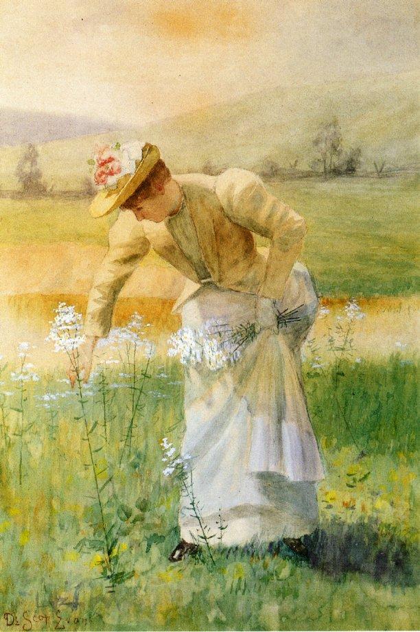 Woman Picking Flowers | De Scott Evans | oil painting