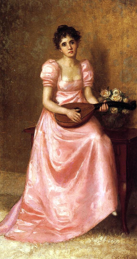 Woman Playing a Mandoliln | De Scott Evans | oil painting
