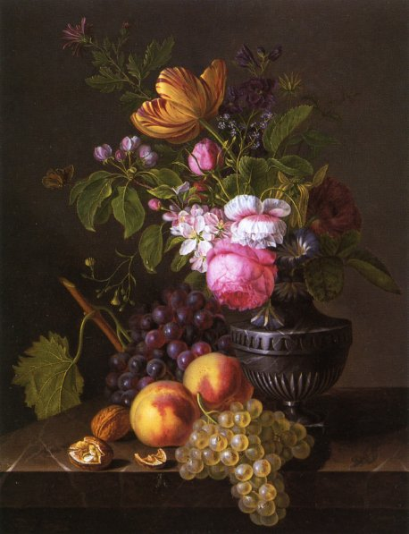 Still Life with Flowers Peaches and Grapes | Jean Baptiste Desprest | oil painting