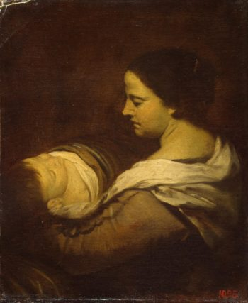 Woman with a Sleeping Child   Martinez del Mazo Juan Bautista   oil painting