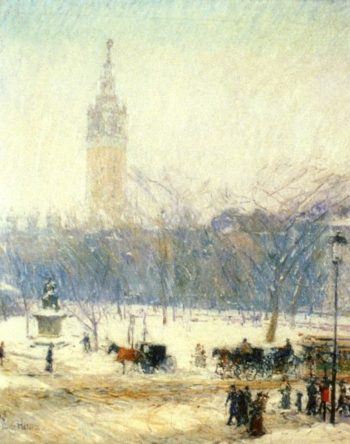 Madison Square   Snowstorm   Frederick Childe Hassam   oil painting