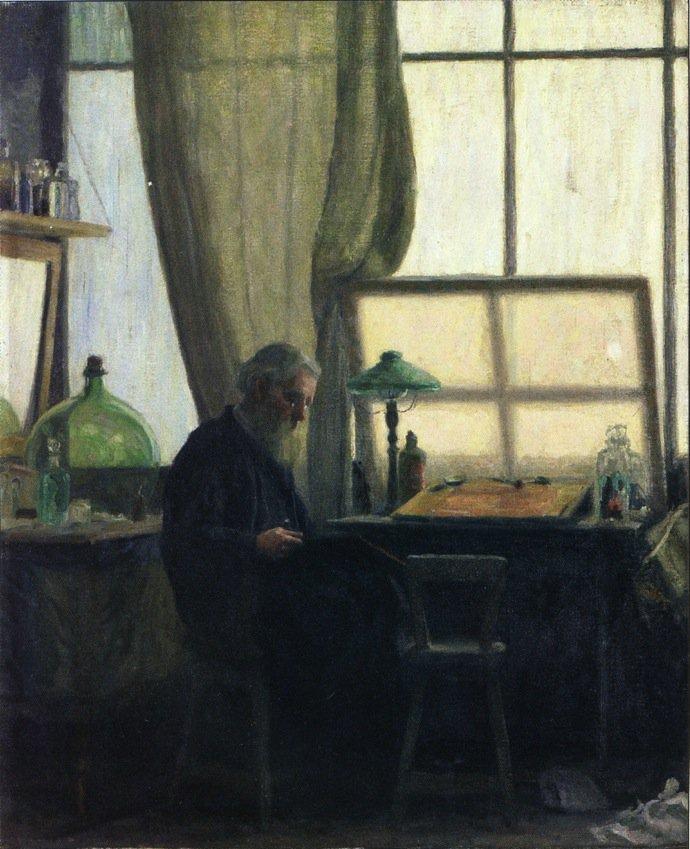 Man at Desk   Charles Franklin Galt   oil painting