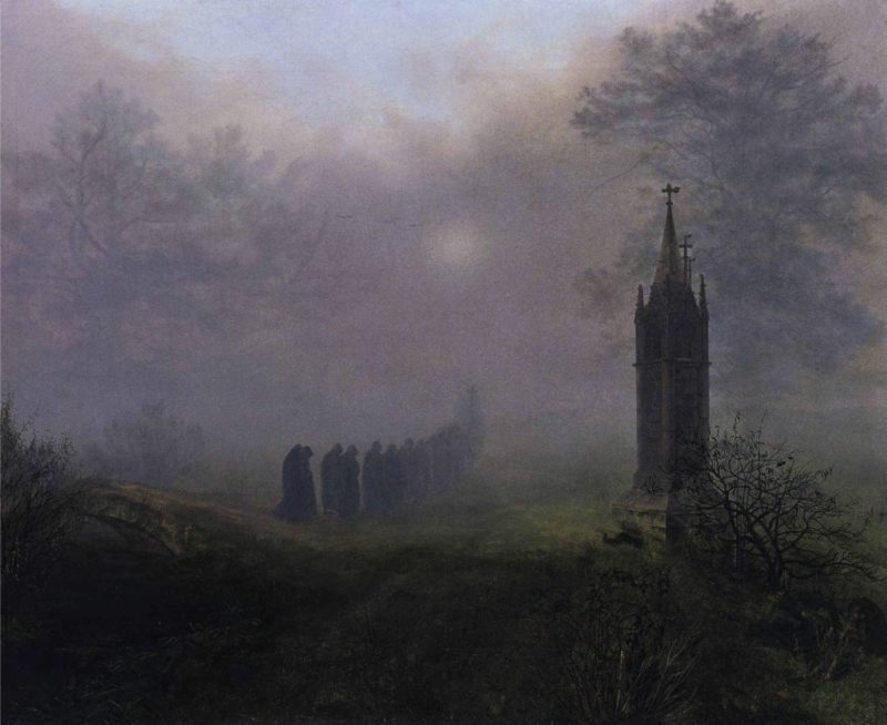 Procession in the Mist | Ernst Ferdinand Oehme | oil painting