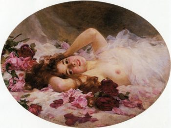 Beauty and Rose Petals | Louis Marie de Schryver | oil painting