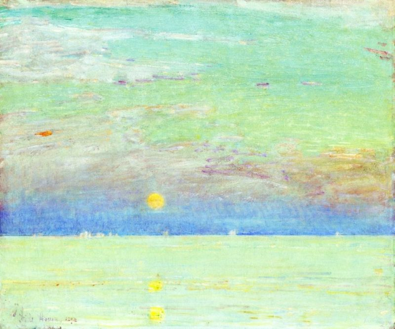 Moonrise at Sunset1   Frederick Childe Hassam   oil painting