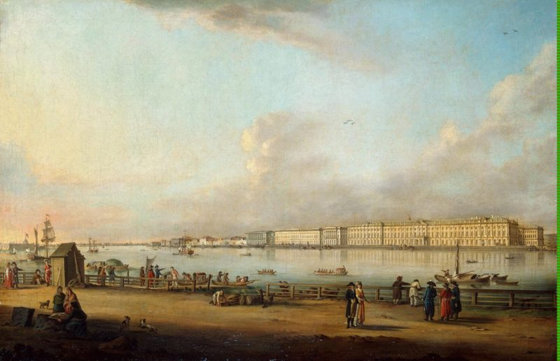 View of the Winter Palace from Vasilyevsky Island   Mayr Johann Georg de   oil painting