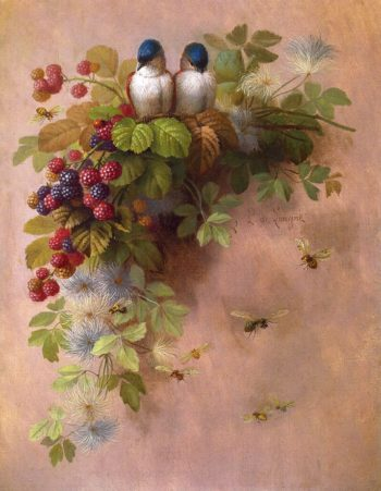 Birds Bees and Berries | Paul De Longpre | oil painting