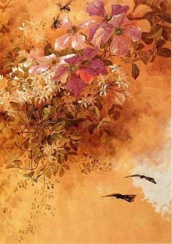 Flowers and Insects | Paul De Longpre | oil painting