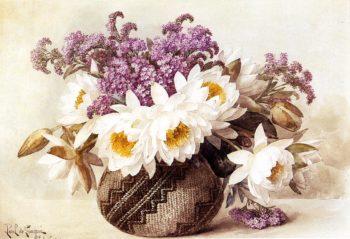 Flowers in an Indian Basket | Paul De Longpre | oil painting