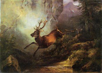 Deer Running through a Forest | Friedrich Gauermann | oil painting