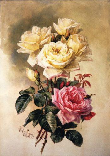 French Bridal Roses | Paul De Longpre | oil painting