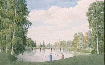 View of the English Park with the Large Birch Bridge. Peterhof | MeaderJames | oil painting