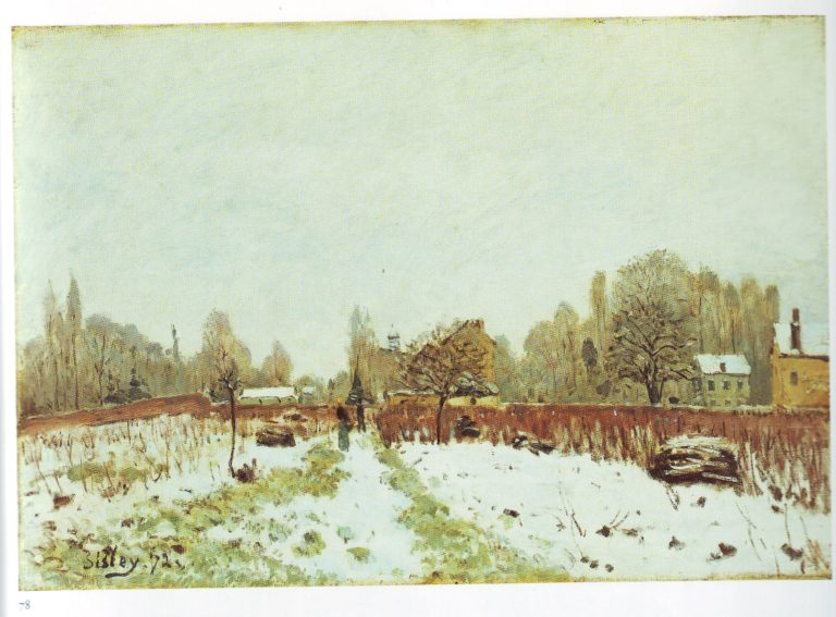Louvecienners in the snow | Alfred Sisley | oil painting