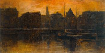 A View of the Prins Hendrikkade with the Schreierstoren Amsterdam | George Hendrik Breitner | oil painting