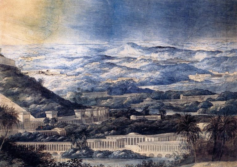 Imaginary Landscape with Neoclassical Buildings | Joseph Michael Gandy | oil painting