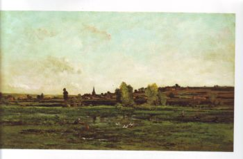 Village on the seine near vernon | Charles Francois Daubigny | oil painting