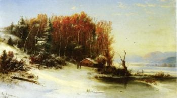 First Snow Along the Hudson | Marie Francois Regis Gignoux | oil painting