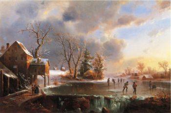 Skaters on a Frozen Pond | Marie Francois Regis Gignoux | oil painting