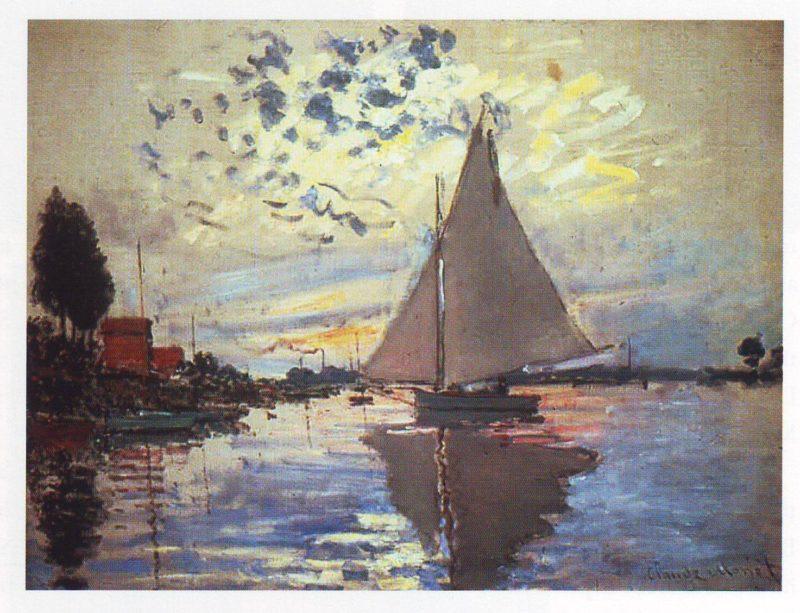 Saiboat at petit gennevilliers | Claude Monet | oil painting