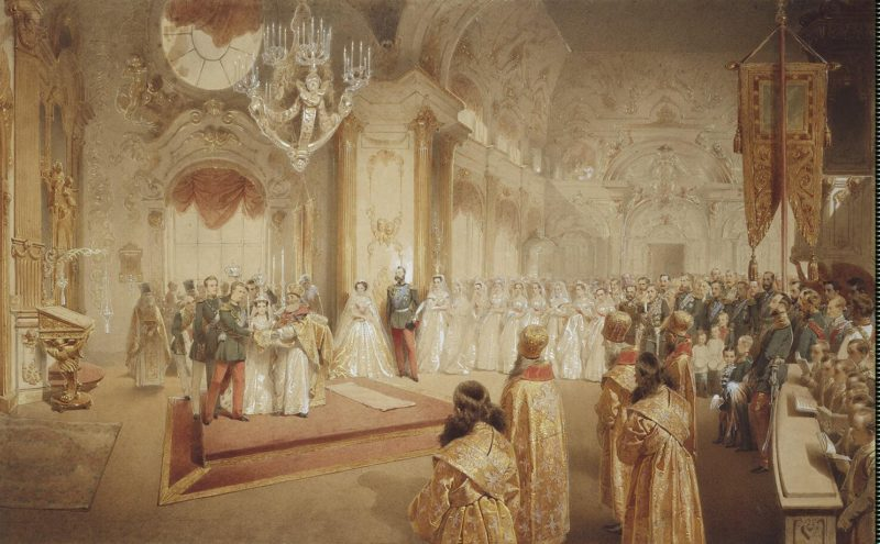 Wedding of Grand Duke Alexander Alexandrovich and Grand Duchess Maria Fiodorovna | Zichy Mihaly | oil painting