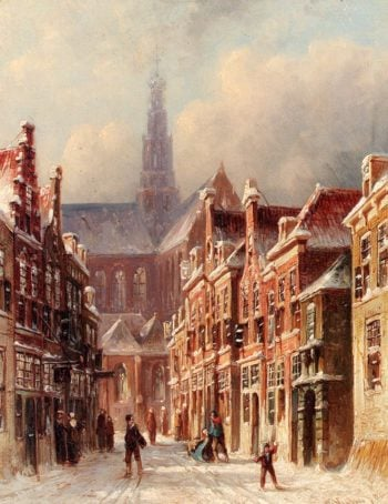 A Snowy Street With The St Bavo Beyond Haarlem | Pieter Gerard Vertin | oil painting