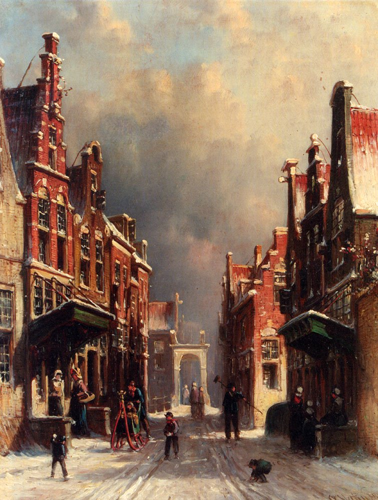 A Town View In Winter With Figures Conversing On Porches And Children Throwing Snowballs | Pieter Gerard Vertin | oil painting