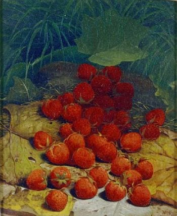 Strawberries Strewn on a Forest Floor   William Mason Brown   oil painting