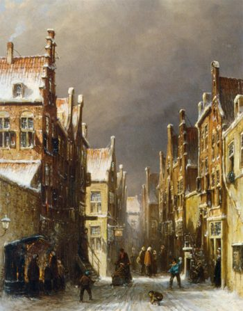 Figures in the Snow Covered Streets of a Dutch Town | Pieter Gerard Vertin | oil painting