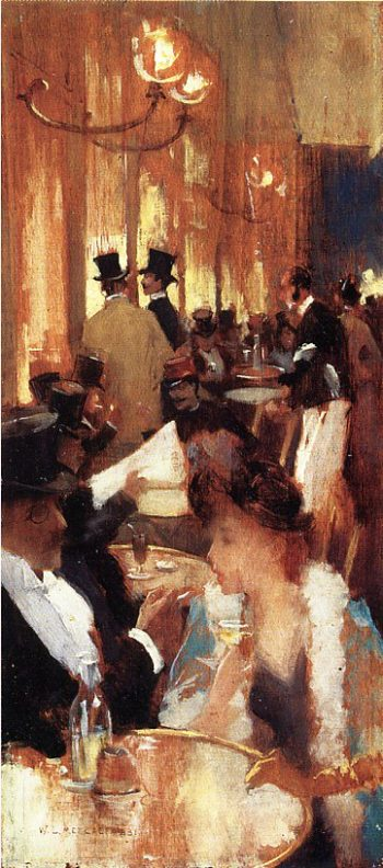 au cafe 1888 | Willard Leroy Metcalf | oil painting
