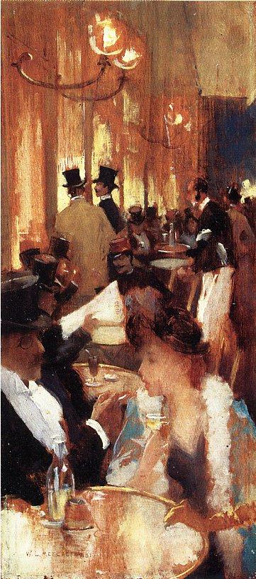 au cafe 1888 | Willard Leroy Metcalf | oil painting