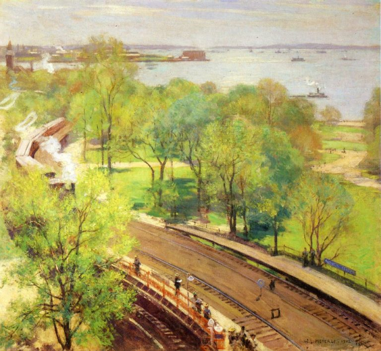 Battery Park Spring 1902 | Willard Leroy Metcalf | oil painting