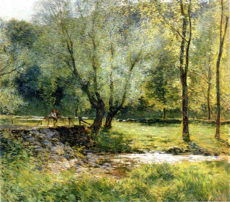 Boys Fishing 1908 | Willard Leroy Metcalf | oil painting