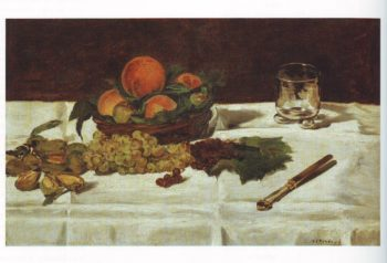 Still life fruit on a table | Edouard Manet | oil painting