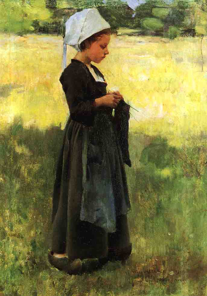 Breton Girl 1884 | Willard Leroy Metcalf | oil painting
