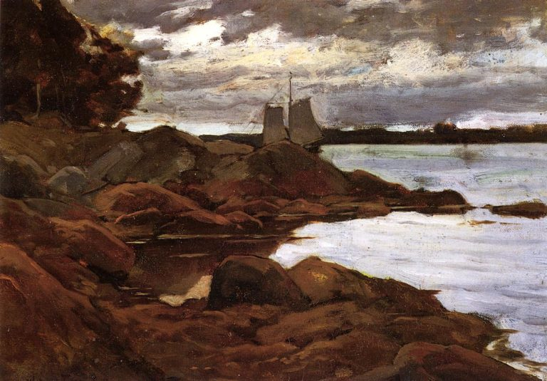 Close of Day on the Maine Shore 1881 | Willard Leroy Metcalf | oil painting