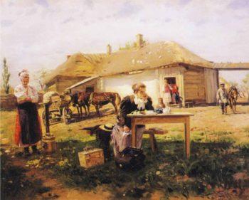 Teacher Visiting a Village | Vladimir Yegorovich Makovsky | oil painting