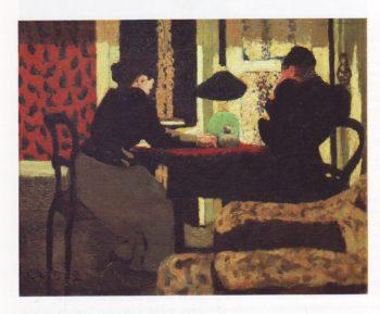 Two women under a lamp | Edourd Vuillard | oil painting