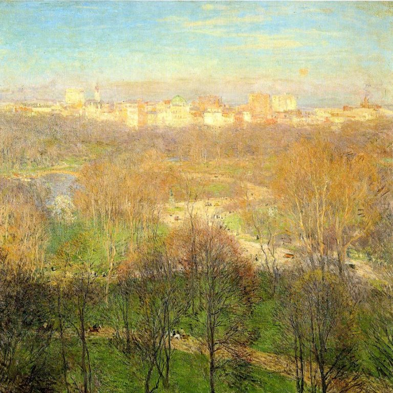 Early Spring Afternoon Central park 1911 | Willard Leroy Metcalf | oil painting