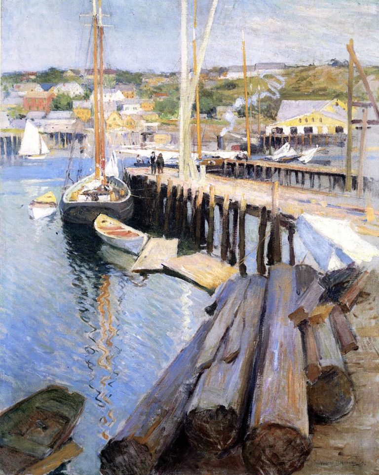 Fish Wharves Gloucester 1896 | Willard Leroy Metcalf | oil painting