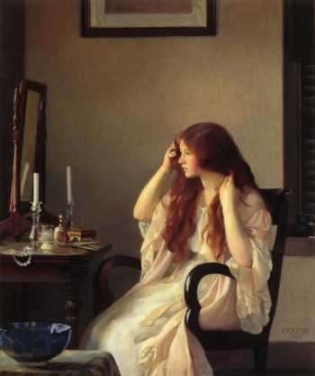 Girl Combing Her Hair | William MacGregor Paxton | oil painting