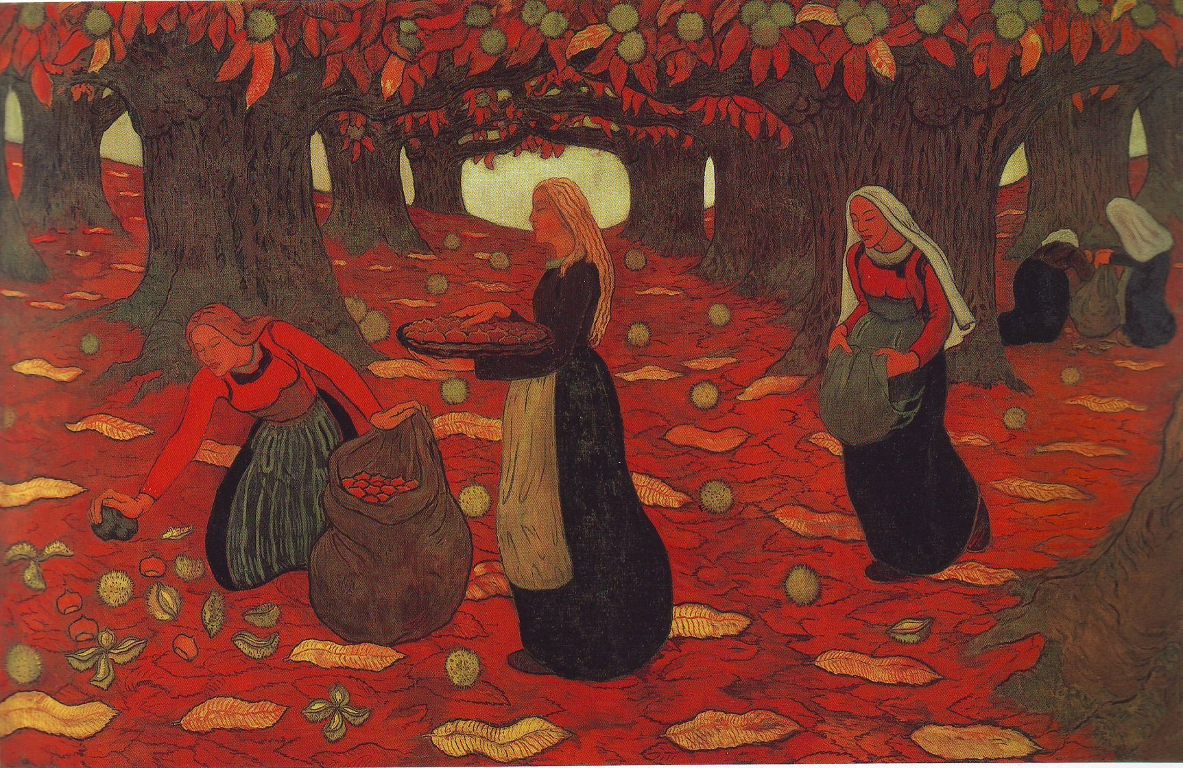 Autumn the chestnut gatherers | Georges Lacombe | oil painting