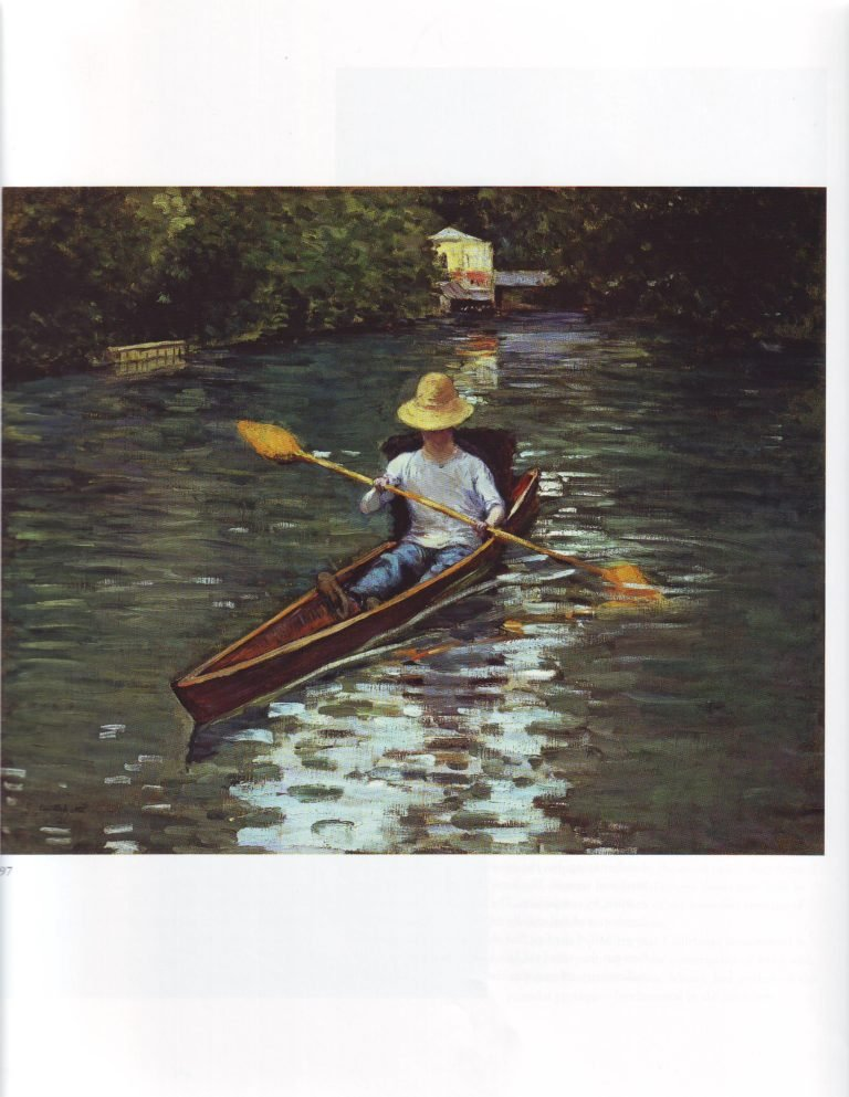 Canoe on the yerres river1 | Gustave Caillebotte | oil painting
