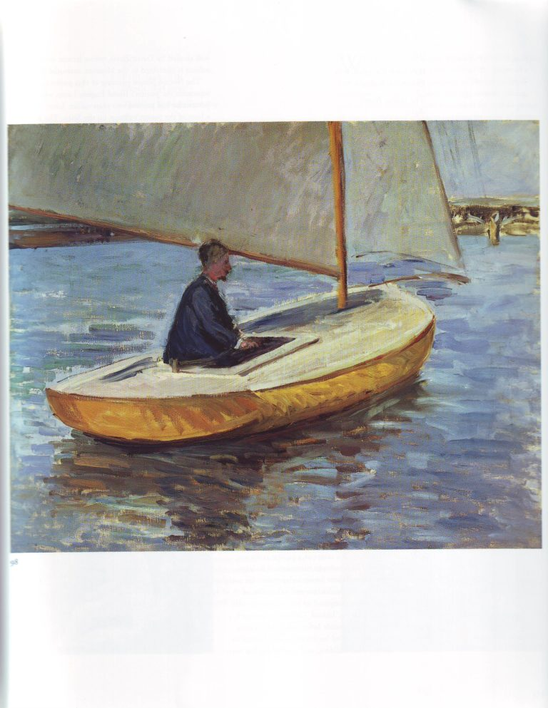 Canoe on the yerres river2   Gustave Caillebotte   oil painting