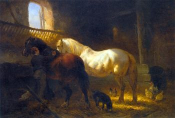 Horses in a Stable | Wouter Verschuur | oil painting