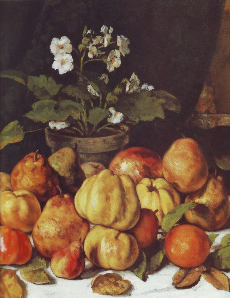 Apples pears and primroses on a table | Gustave Courbet | oil painting